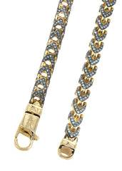 Franco Chain With Blue Diamonds | 11.96 Carats | 6 Mm Width | 24 Inch Length