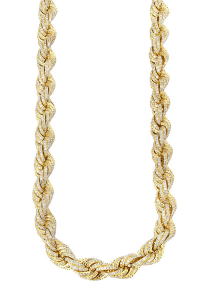 Iced Out Rope Chain | 72.92 Carats | 12 Mm Width | 29 Inch Length
