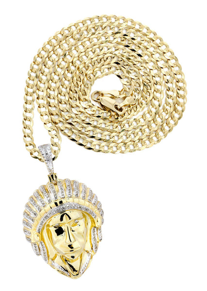 10K Yellow Gold Chief Head Diamond Pendant & Cuban Chain | 0.29 Carats