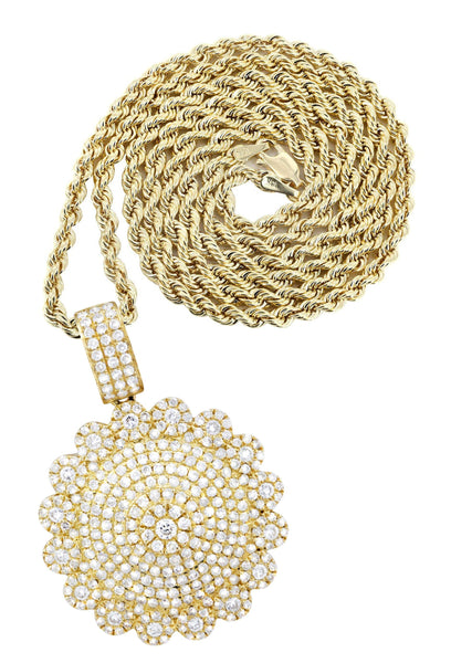 10K Yellow Gold Round Pendant & Rope Chain | 1.94 Carats