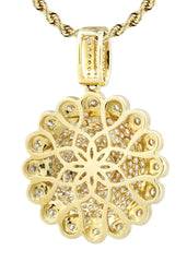 10K Yellow Gold Round Pendant & Rope Chain | 1.94 Carats diamond combo FrostNYC