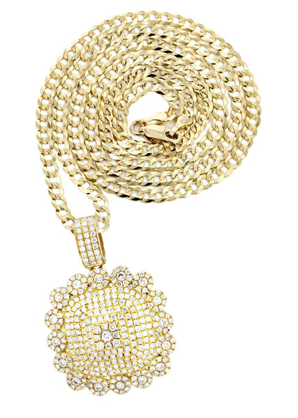 10K Yellow Gold Dog Tag Pendant & Cuban Chain | 2.35 Carats