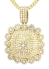 10K Yellow Gold Dog Tag Pendant & Cuban Chain | 2.35 Carats diamond combo FrostNYC