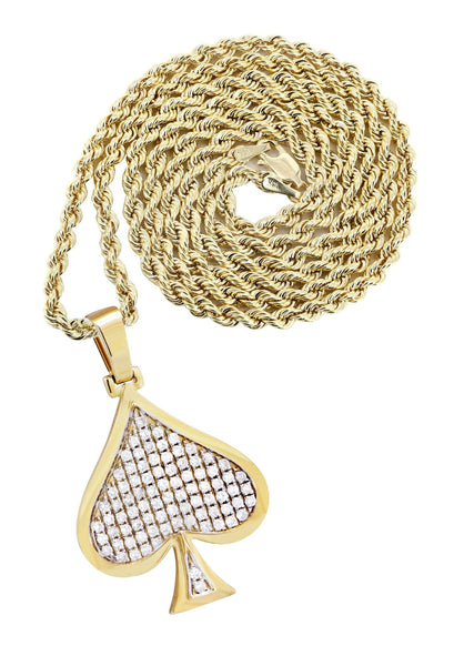10K Yellow Gold Spades Pendant & Rope Chain | 1.46 Carats