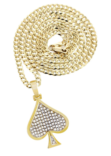 10K Yellow Gold Spades Pendant & Cuban Chain | 0.57 Carats