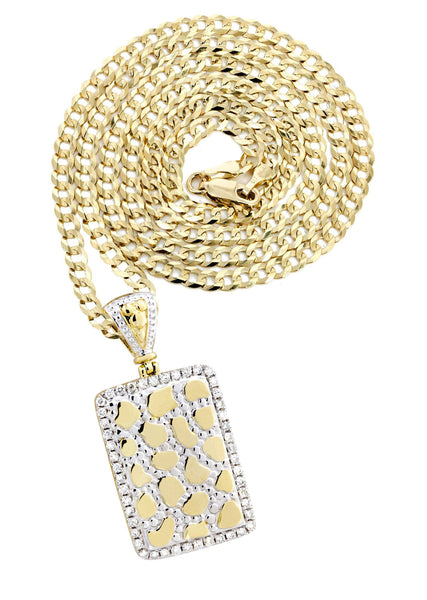 10K Yellow Gold Nugget Dog Tag Pendant & Cuban Chain | 0.84 Carats