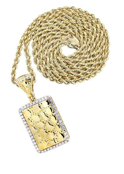 14K Yellow Gold Nugget Dog Tag Pendant & Rope Chain | 0.6 Carats