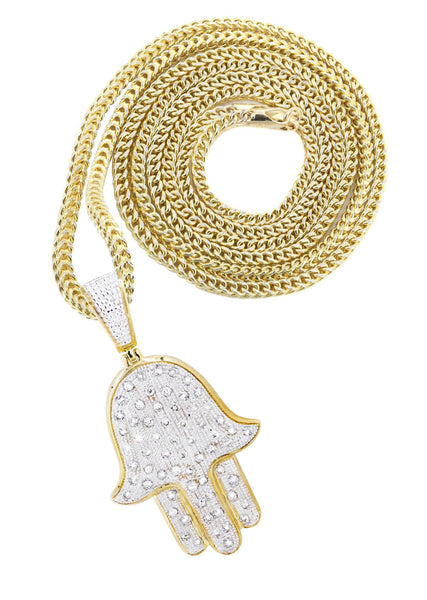 10K Yellow Gold Hamsa Pendant & Franco Chain | 1.09 Carats