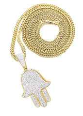 10K Yellow Gold Hamsa Pendant & Franco Chain | 1.09 Carats diamond combo FrostNYC