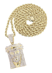 14K Yellow Gold Jesus Head Diamond Pendant & Rope Chain | 2.08 Carats