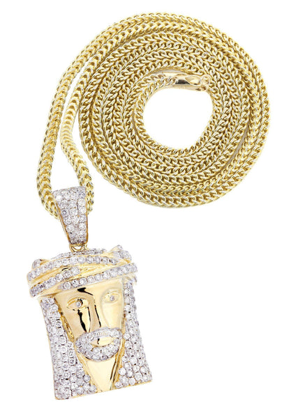 10K Yellow Gold Jesus Head Diamond Pendant & Franco Chain | 2.35 Carats
