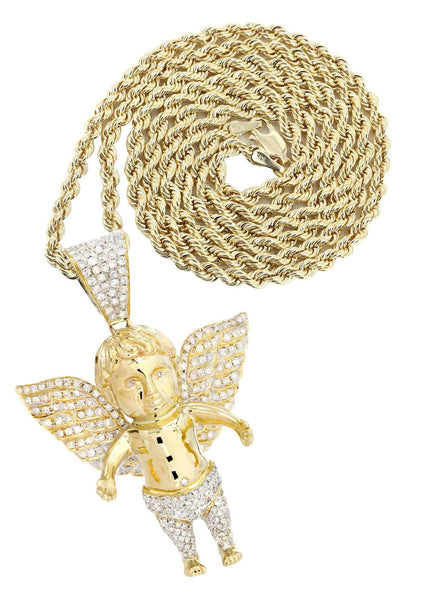 10 Yellow Gold Angel Diamond Pendant & Rope Chain | 2.69 Carats