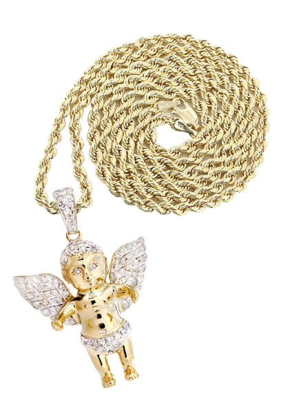 10 Yellow Gold Angel Diamond Pendant & Rope Chain | 0.96 Carats