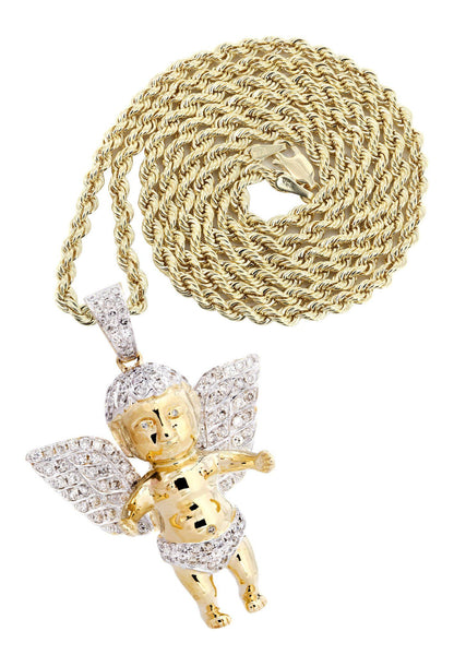 10K Yellow Gold Angel Diamond Pendant & Rope Chain | 1.87 Carats