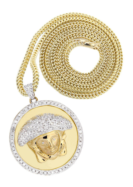 10 Yellow Gold Versace Diamond Pendant & Franco Chain | 2.49 Carats
