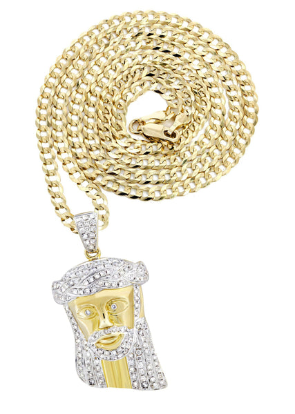 10K Yellow Gold Jesus Head Pendant & Cuban Chain | 1.19 Carats
