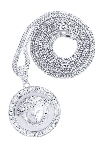 14 White Gold Versace Diamond Pendant & Franco Chain | 1.5 Carats