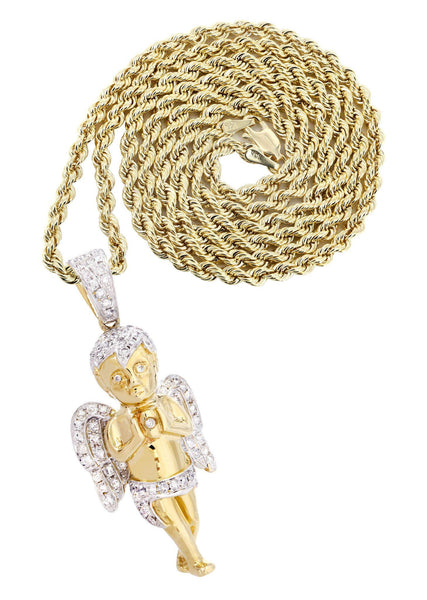 14 Yellow Gold Angel Diamond Pendant & Rope Chain | 1.31 Carats