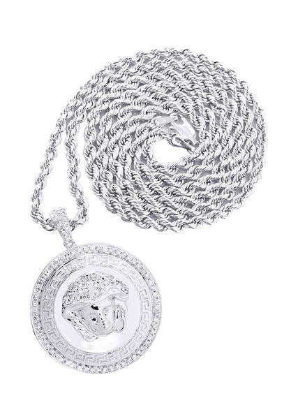 10K White Gold Versace Diamond Pendant & Rope Chain | 1.37 Carats