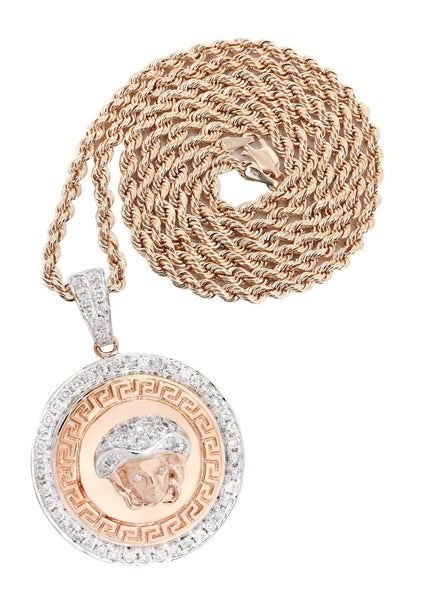 10K Rose Gold Versace Diamond Pendant & Franco Chain | 1.02 Carats