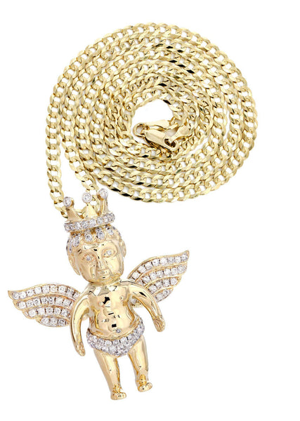 10 Yellow Gold Angel Diamond Pendant & Cuban Chain | 1.72 Carats