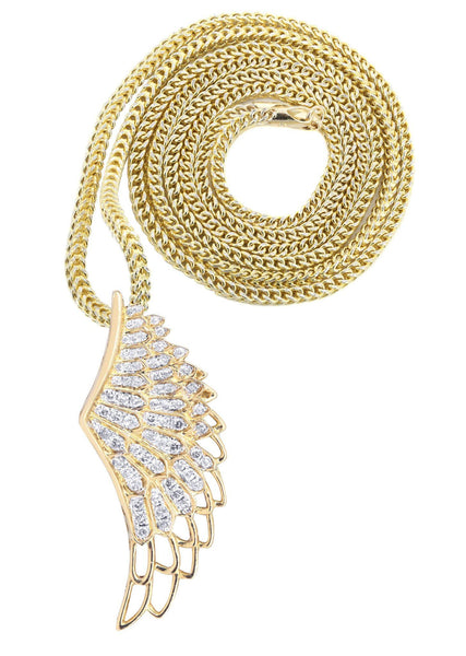 10K Yellow Gold Angel Wing Diamond Pendant & Franco Chain | 0.82 Carats