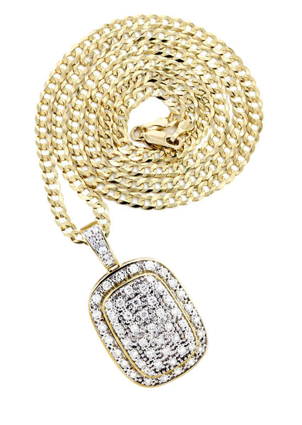 10K Yellow Gold Dog Tag Pendant & Cuban Chain | 1.94 Carats