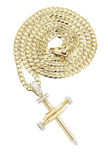 10K Yellow Gold Cross Diamond Pendant & Cuban Chain | 0.19 Carats