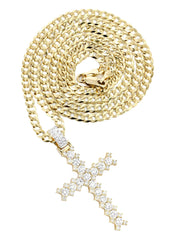 14K Yellow Gold Cross Diamond Pendant & Cuban Chain | 1.95 Carats