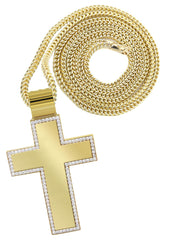 10K Yellow Gold Franco Chain & Cz Gold Cross Necklace | Appx. 50.6 Grams