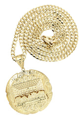 10K Yellow Gold Cuban Chain & Last Supper Pendant | Appx 18.9 Grams