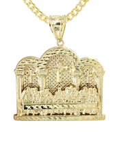 10K Yellow Gold Cuban Chain & Last Supper Pendant | Appx 18.3 Grams