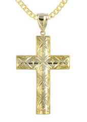 10K Yellow Gold Cuban Chain & Gold Cross Necklace | Appx. 16.5 Grams