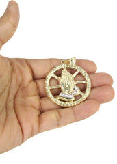 10K Yellow Gold Franco Chain & Praying Hands Pendant | Appx. 16.8 Grams