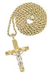 10K Yellow Gold Rope Chain & Gold Cross Necklace | Appx. 17.7 Grams