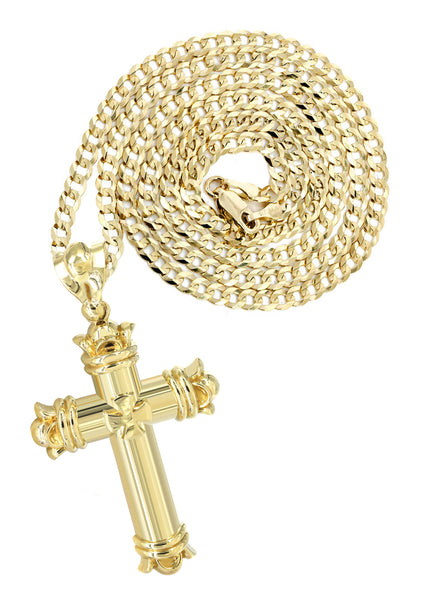 10K Yellow Gold Cuban Chain & Cz Gold Cross Necklace | Appx. 24.9 Grams