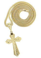 10K Yellow Gold Franco Chain & Gold Cross Necklace | Appx. 13.7 Grams