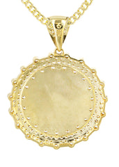 10K Yellow Gold Cuban Chain & Round Crucifix Pendant | Appx. 17 Grams