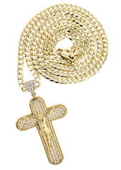 10K Yellow Gold Cuban Chain & Gold Cz Cross Necklace | Appx. 15.7 Grams