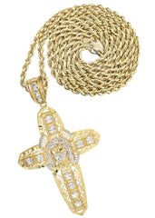 10K Yellow Gold Rope Chain & Cz Gold Cross Necklace | Appx. 24.7 Grams