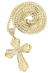 10K Yellow Gold Cuban Chain & Cz Gold Cross Necklace | Appx. 17.8 Grams