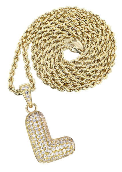 "10K Yellow Gold Rope Chain & Bubble Letter ""L"" Cz Pendant 