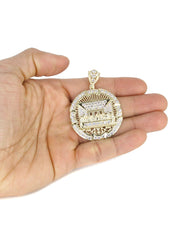 10K Yellow Gold Cuban Chain & Round Cz Last Supper Pendant | Appx 22.2 Grams