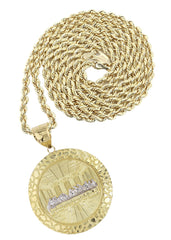 10K Yellow Gold Rope Chain & Round Last Supper Pendant | Appx 17.8 Grams