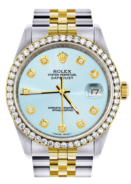 Gold Rolex Datejust Watch 16233 Two Tone for Men | 36Mm | Light Blue Dial | Jubilee Band