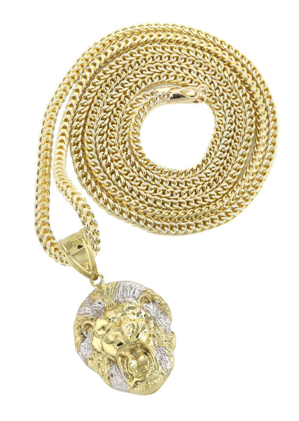 10K Yellow Gold Franco Chain & Lion Head Pendant | Appx 13.6 Grams