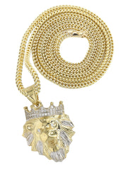10K Yellow Gold Franco Chain & Cz Lion Head Pendant | Appx 16.3 Grams