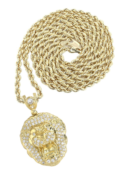 10K Yellow Gold Rope Chain & Cz Lion Head Pendant | Appx 16.4 Grams