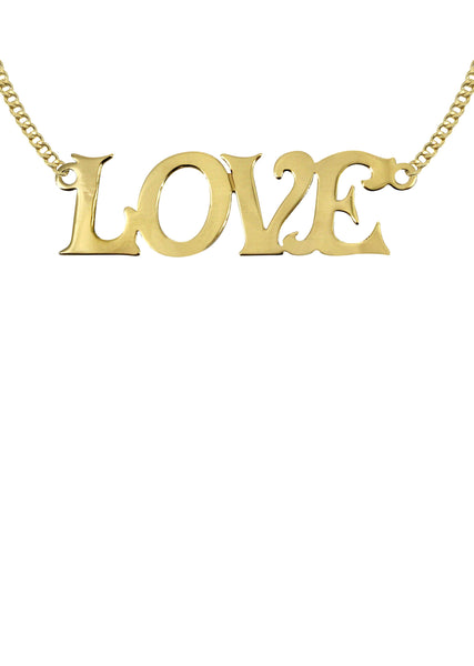 14K Ladies Love Name Plate Necklace | Appx. 5.9 Grams