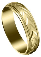 Yellow Gold Basic Carved Diamond Cut Mens Wedding Band | Cross Satin Finish (Austin)